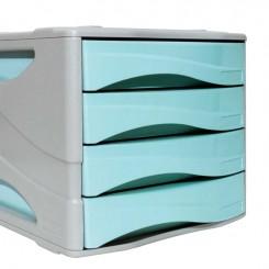 Bloc tiroir 04 cassette couleur pastel blue ARDA 15P4PASBL