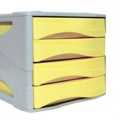Bloc tiroir 04 cassette couleur pastel Jaune ARDA 15P4PASG