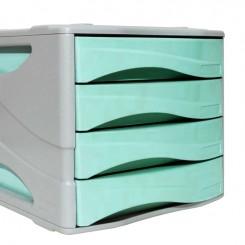 Bloc tiroir 04 cassette couleur pastel Vert ARDA 15P4PASV