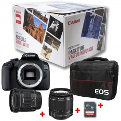 Bundle Africa Reflex Canon EOS 2000D + Objectif 18-55mm IS + EF-S 10-18mm IS STM + sacoche EOS