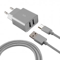 Chargeur Micro USB KSIX BXCD2U2MP 2.4A - Silver