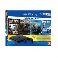 PlayStation Slim MEGA PACK - 500Go - Noir + 3 jeux