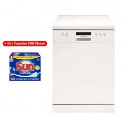 Lave Vaisselle BRANDT DFH13217W 13 Couverts - Blanc + 40 x Capsules SUN Classic