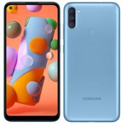 "Smartphone Samsung Galaxy A11 - 32Go - 6.4"" - Bleu + SIM Voix 5dt Ooredoo + film de protection offert"