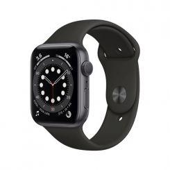Apple Watch Series 6 GPS, 44mm boitier aluminium gris sidéral avec bracelet sport noir